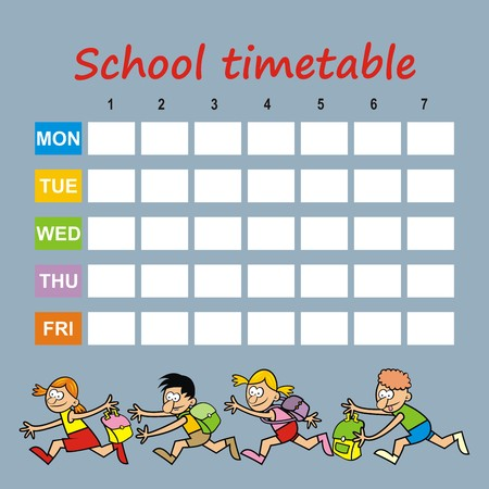 roster: school timetable, children and bag
