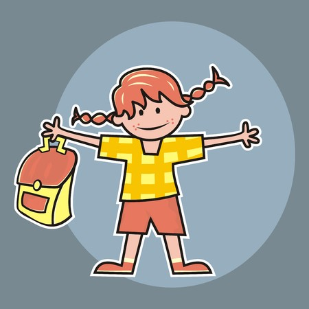 Girl and schoolbag, happy figure with pigtails.
