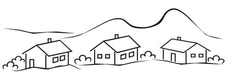 silhouette maison: paysage, village