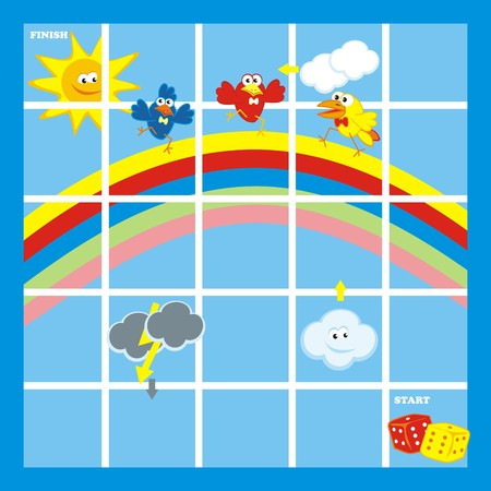 Game for children. Need figurines and dice. Sky and birds. Illustration