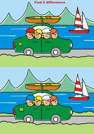 sailboard: trip, game, find five differences Illustration