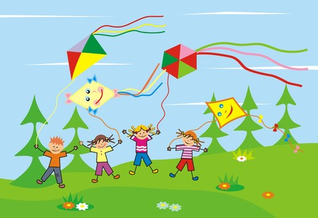 multitude: Children and kites. Group of girls and boy with kites. Illustration