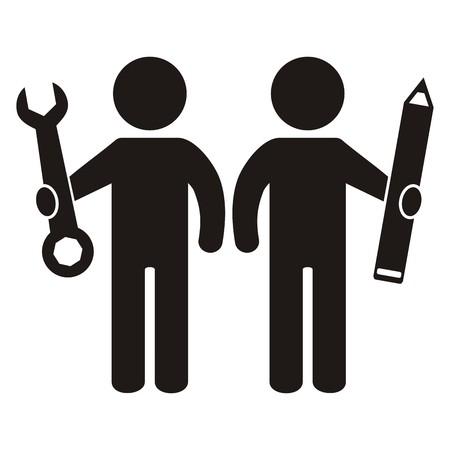 figure and tool, black vector icon Vektorové ilustrace