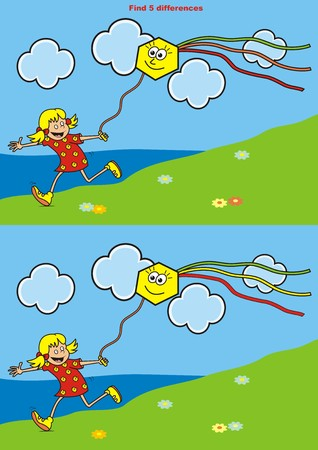 find: girl and kite game, find five differences Illustration