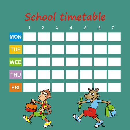 school timetable, monkey and wolf, icon