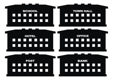 town hall: Public house, set, icon, School, town hall, hotel, office, post and banks.