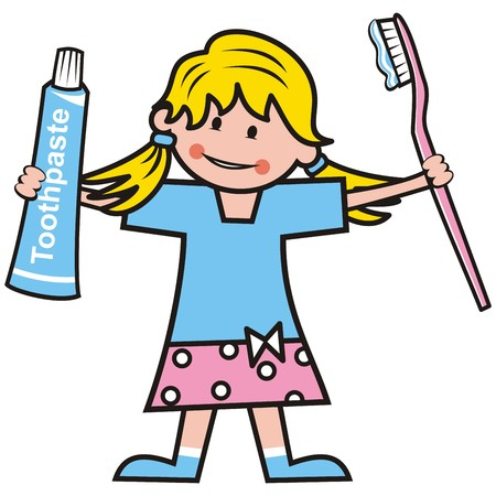 Girl, toothpaste and toothbrush.  illustration.