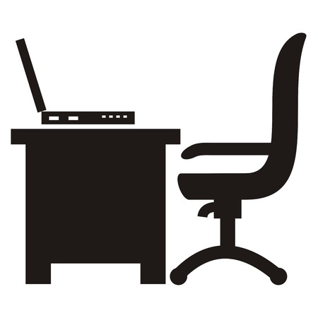 swivel chairs: workroom, chair, desk and laptop, icon Illustration