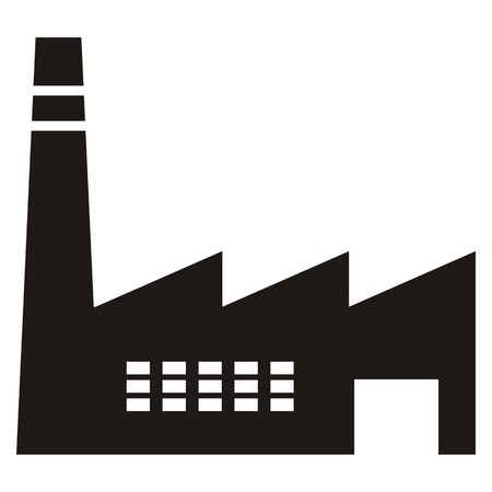 Industrial hall with a chimney and entrance. icon. Black silhouette. 矢量图像