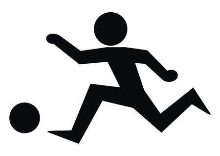 figure and ball, black icon, sport Vektorové ilustrace