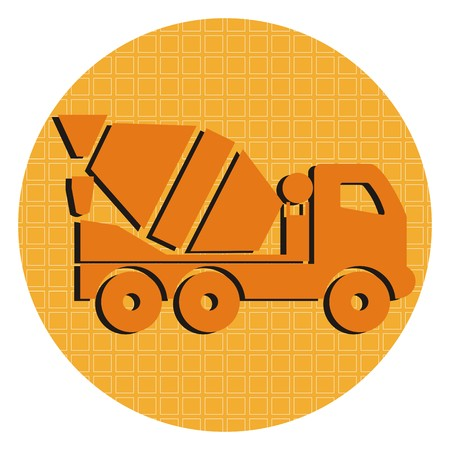 Lorry, orange truck. icon, button.