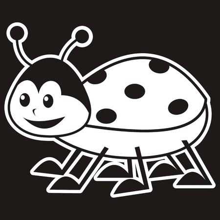 feelers: ladybug, black and white illustration, label