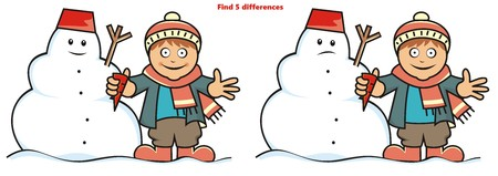 find: boy and snowman, find five differences Illustration