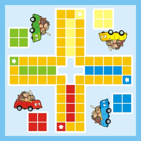 ludo: Ludo, game for children. Cars and animals. Board game.