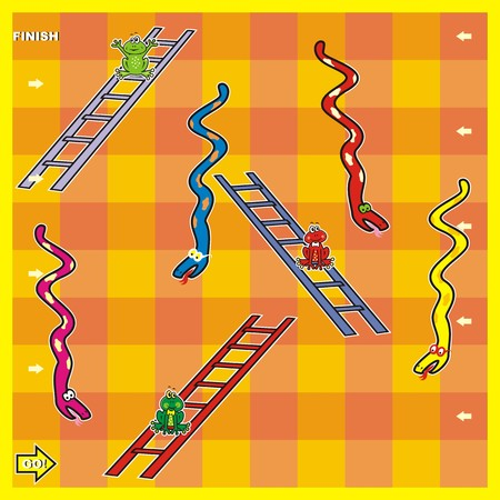snakes and ladders: boardgame, snakes and frogs Illustration