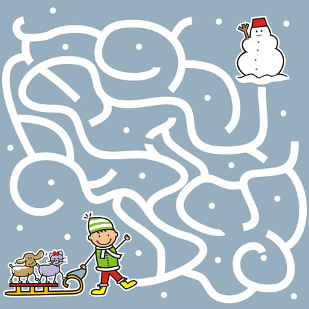 puzzlement: game, labyrinth, boy and pet find a way snowman Illustration