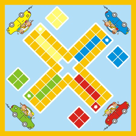 Ludo, game with car and children. Game for children. Illustration