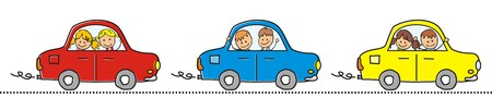 yellow car: Cars and children. Three different cars with children. Red, blue and yellow car in line.