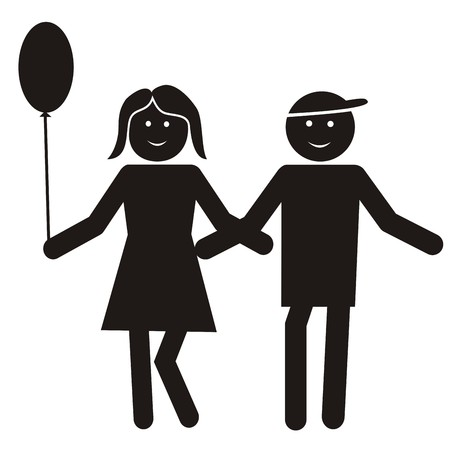 figure, boy and girl with ball, silhouette