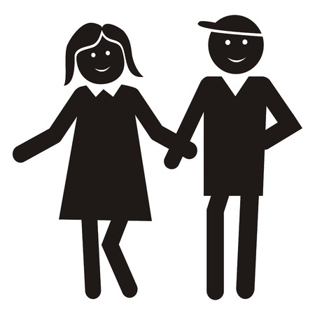 Figure, lady and man. Black icon. Young couple on a walk.