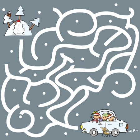 puzzlement: Labyrinth game for children, kids and pets in car to go mountain Illustration