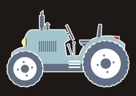 Blue tractor, icon with white contour.
