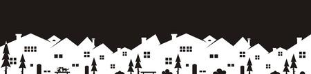 Cityscape icoon, achtergrond, zwart-wit silhouet
