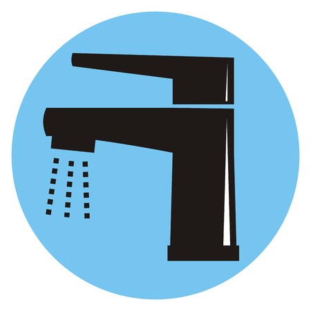stopcock: Single lever faucet. Black icon. Blue frame.