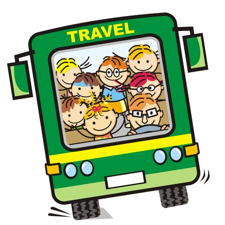 funny bus with children icon, humorous illustration
