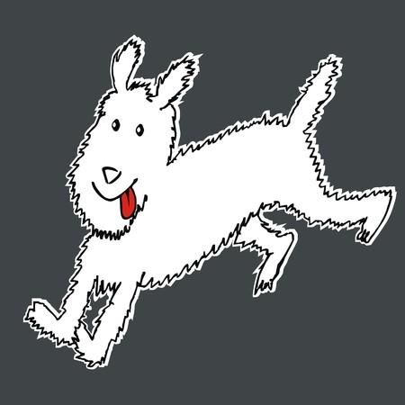 running dog, fox terrier, funny illustration