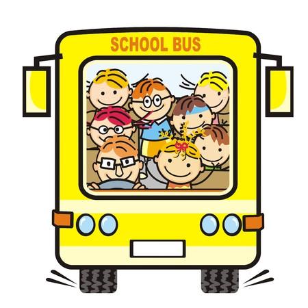 Yellow school bus and children icon. Humorous illustration.