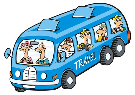 Bus and seniors icon. Funny illustration. Ilustração