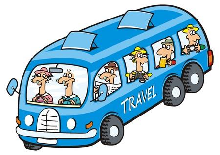 Ikona autobusów i seniorów. Zabawna ilustracja. Ilustracje wektorowe