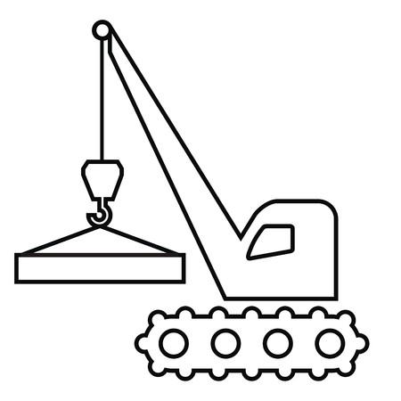 Crane, vector icon, black outline, handling of load Illustration