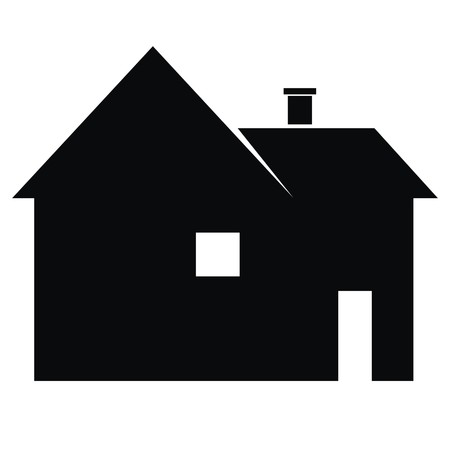 smoke stack: House with window and door. Compartmentalized house. Black silhouette. Vector icon.