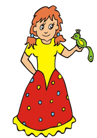 wench: Dolly and parrot. Smile illustration for children. Vector icon.
