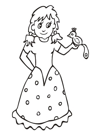 Dolly and parrot. Coloring book for children. Vector icon. Illustration