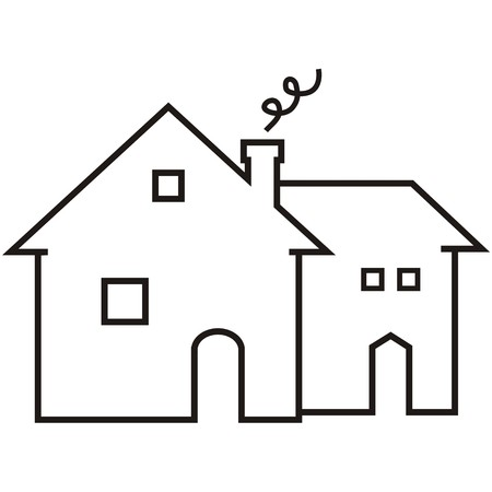 smokestack: Guesthouse with smokestack, doors and windows. Compartmentalized house. Black outline. Vector icon.