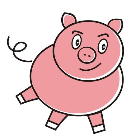 enraged: Enraged pink pig. Vector illustration.