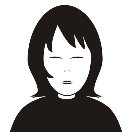 wench: Girl, portrait. Black silhouette of person. Vector icon.