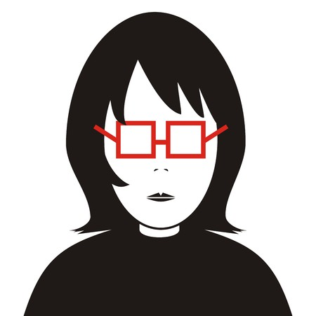 Portrait and eyeglasses. Black vector silhouette and red eyeglass.
