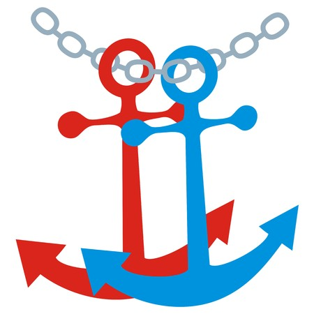 two anchor and chain, vector icon Illustration