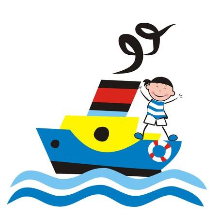 wawe: Steamer and sailor, vector illustration