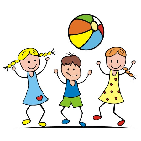 wench: Children and ball. Two girls and a boy are playing with a ball. Vector illustration. Illustration