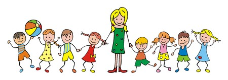 teacher and children, kindergarten, vector icon