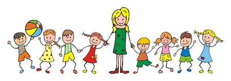 teacher and children, kindergarten, vector icon