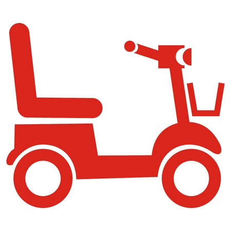 Red scooter, vector icon. Electric carts for the elderly. Illustration