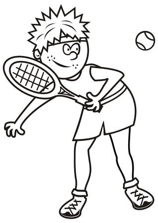 Libro Para Colorear Dibujos Animados Jugador De Tenis - Ilustración ...