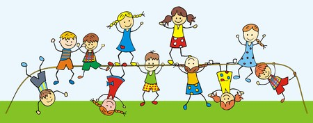 Children on a jungle gym. Happy kids, color illustration. Vector icon.