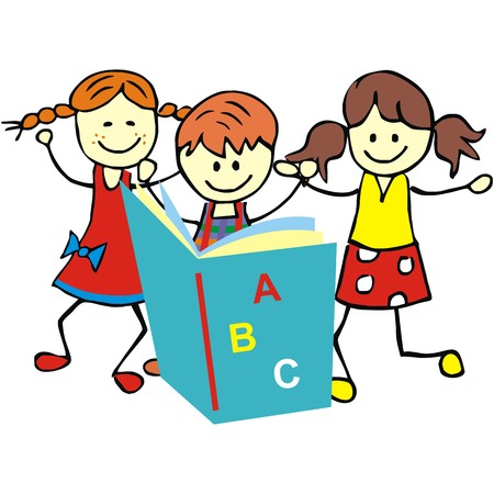 gambol: children and textbook, vector illustration